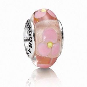 Authentic PANDORA Pink Murano Glass Flower Charm